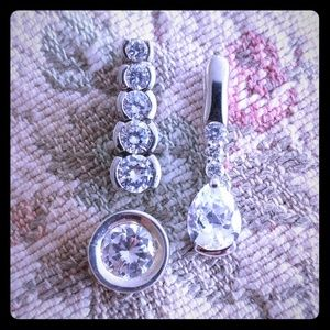 Sterling diamond CZ charm lot